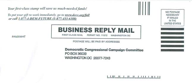 Business Reply Envelope from the DCCC